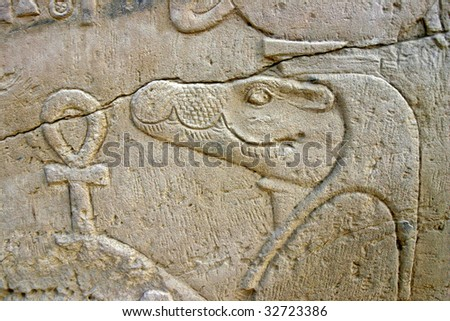 Wall of relief of the Crocodile God Sobek in Egypt - stock photo