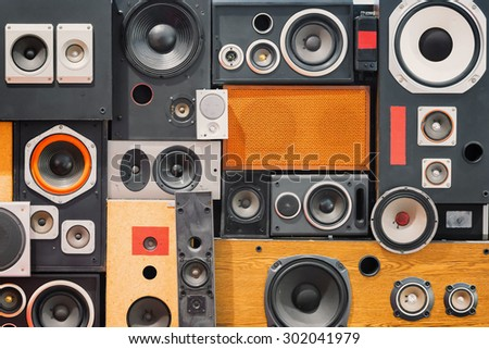 wall of retro vintage style Music sound speakers  - stock photo