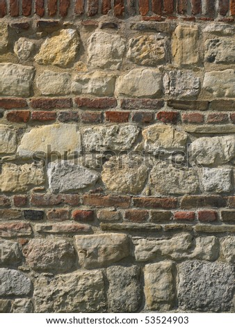 Wall of rocks and bricks, wide and detail
