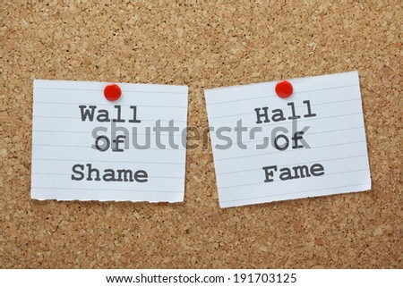 Wall of Shame or Hall of Fame choices on a cork notice board - stock photo