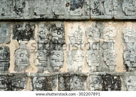 Wall of Skulls, at Chichen Itza Ruins, Yucatan, Mexico - stock photo