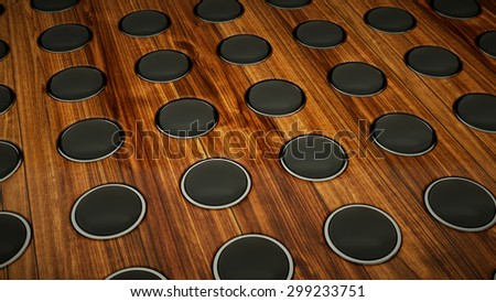 Wall of sound: many speakers on wooden background. Large resolution - stock photo
