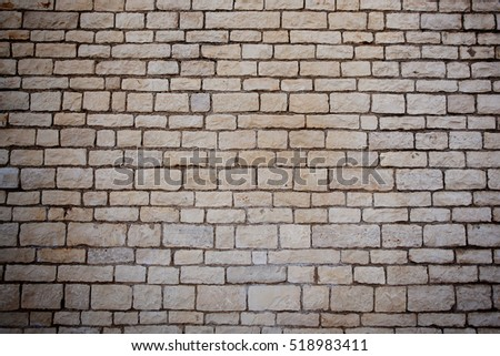 Wall of the building, built of white brick