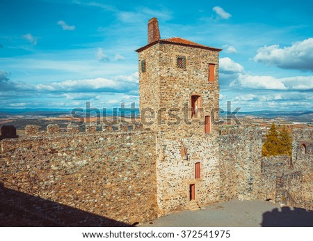 Wall of the castle of Braganza. - stock photo