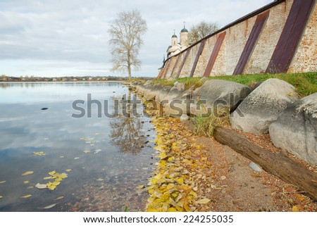 Wall of the Kirillo-Belozersky monastery. Architectural monument of Russia - stock photo