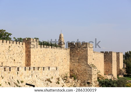 Wall of the old city of Jerusalem - stock photo