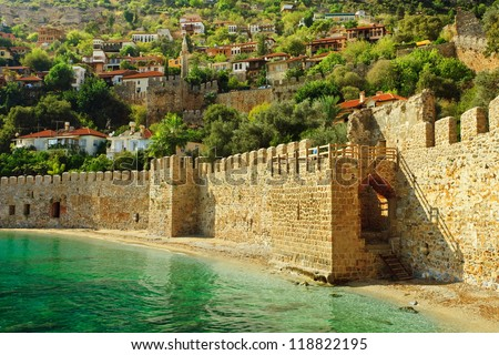 Wall of the old fortress in Alanya - stock photo