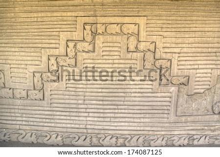 Wall of the ruins of Chan Chan near Trujillo, Peru - stock photo