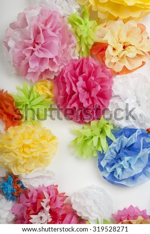 Wall of Tissue Paper Flowers - stock photo