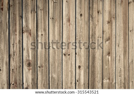 Wall of weathered planks of an old wooden house in Sweden, usable as background or texture - stock photo