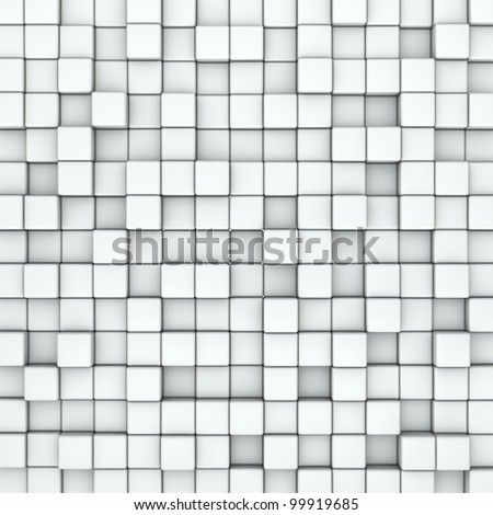 Wall of white cubes background. - stock photo