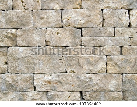 Wall of worked stones