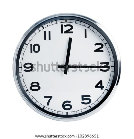 Wall office clock in a metal case on  white background - stock photo