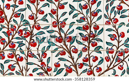 wall old tiles red cherry background