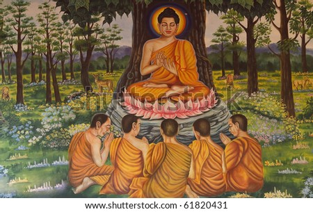 Wall paintings in the temple of Thailand. - stock photo