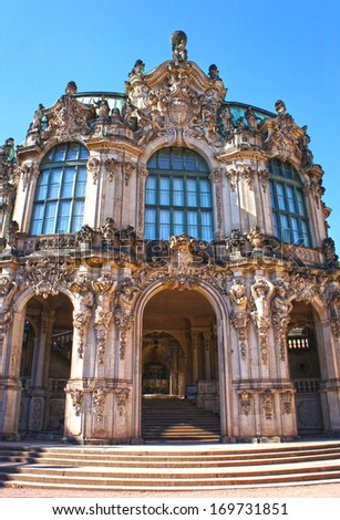 Wall pavilion of the Zwinger - palace in Dresden, Germany. Today, the Zwinger is a museum complex that contains the Old Masters Picture Gallery. - stock photo