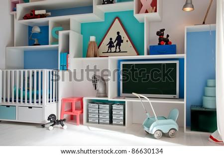 wall retro decoration in child room - stock photo