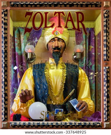 WALL, SOUTH DAKOTA - OCTOBER 28: Zoltar fortune telling machine inside Wall Drug Store on Main Street on October 28, 2015 in Wall, South Dakota - stock photo