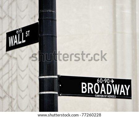 Wall St and Broadway street sign in NYC - stock photo