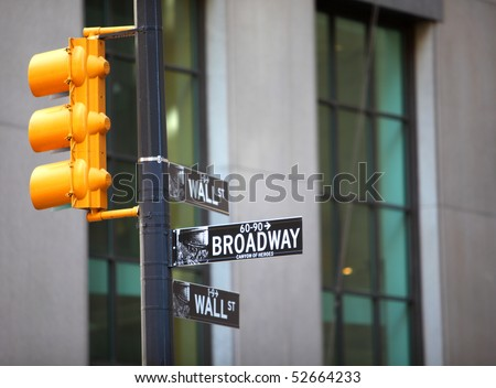 Wall Street and Broadway sign in New York City - stock photo