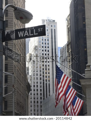 wall street and broadway street signs at Manhattan - stock photo
