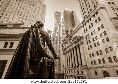 Wall street in New York City - stock photo
