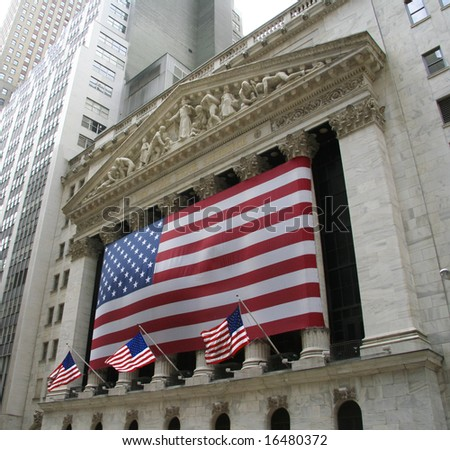 Wall street in NYC - stock photo