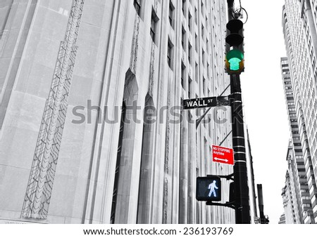 Wall Street road sign and traffic lights. - stock photo