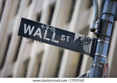 Wall street sign - stock photo