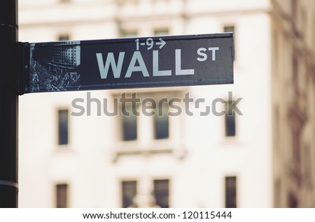 Wall Street sign in downtown Manhattan, New York City..