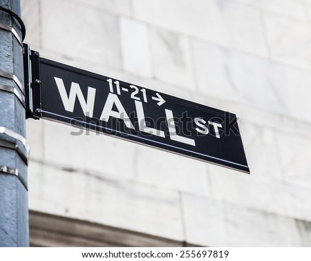 Wall street sign in New York City - stock photo