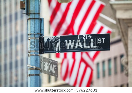 Wall street sign in New York City, USA - stock photo