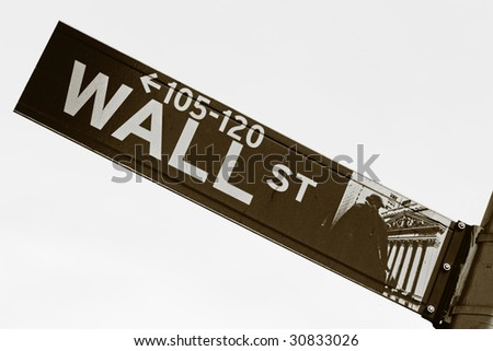 Wall Street sign in sepia tone - stock photo