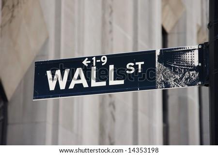 Wall Street sign - Manhattan, New York City, USA - stock photo
