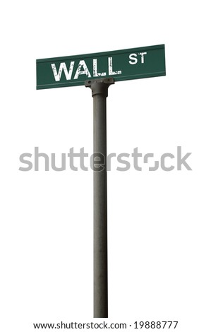 Wall street sign over a white background - stock photo