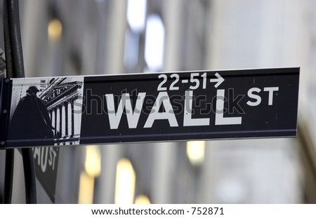 Wall street sign, the brown colour indicates the historic area, manhattan, new york city, America, usa - stock photo