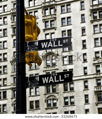 Wall street signs in Manhattan, New York