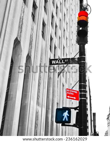 Wall Street: Stop or Go ? - stock photo