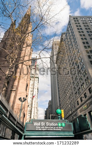 Wall Street - Subway entrance in Lower Manhattan, New York City - stock photo
