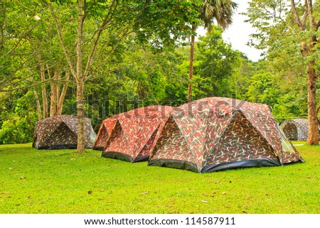 Wall Style Camping Tents at Rustic Campground during Daytime in Woods - stock photo