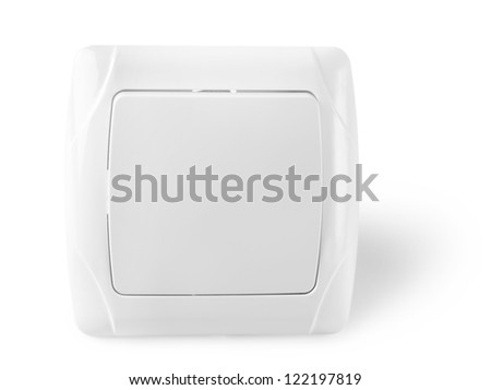 Wall switch with a button isolated on white background