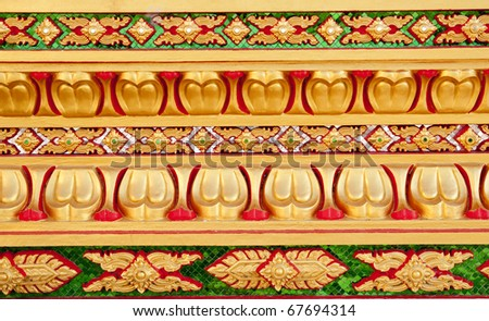 wall temple in Thailand - stock photo