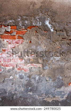 Wall texture grunge background with vignetted corners to interior design. Cracked concrete vintage brick wall background - stock photo