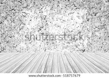 Wall texture surface white color use for background with Wood terrace and world map