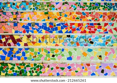 wall tiles  colour full stone  - stock photo