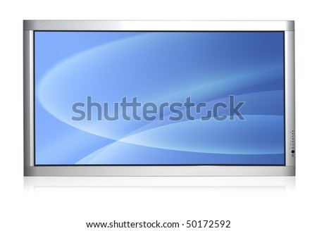 Wall version of plasma TV isolated over white background - stock photo