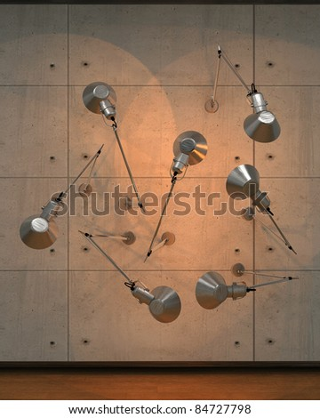 Wall whit lamps - stock photo