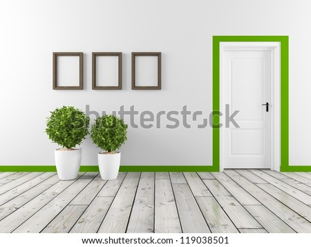 wall with frame and white door - stock photo