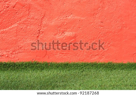 wall with grass - stock photo
