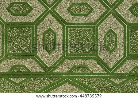 Wall with green geometric shapes